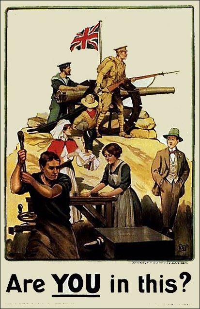 Британський плакат часів Першої Світової Війни.