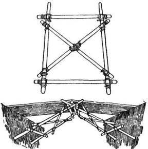 """Простий міст можна зробити з двох """"козлів"""". На малюнку показано, як частини складені. Всі в'язання квадратні, тільки одне - посередині – перехресне (Бі-Пі)"""
