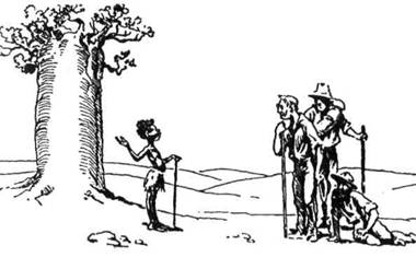 Мала тубілка прийшла на допомогу вченим професорам, що їм забракло води під час мандрівки австралійською пущею