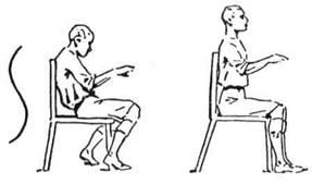 Коли сидиш на кріслі, сиди випрямлено і не з'їжджай униз, наслідуючи букву S