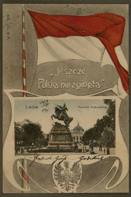 Польська поштівка, Львів, 1904 р. з червоно-білим прапором